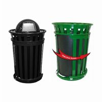 Witt Outdoor Trash Receptacle 36 Gal. Black Steel with Dome Top and Sliding Gate W-M3601SD-DT-BK