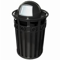 Witt Outdoor Trash Receptacle and 36 Gal. Black Steel with Dome Top W-M3600-R-DT