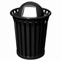 Witt Outdoor Trash Receptacle 36 Gal. Black Steel with Dome Top - Wydman W-WC3600-DT-BK