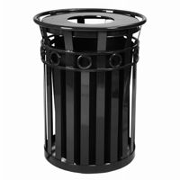Witt Outdoor Trash Receptacle 36 Gal. Black Steel with Flat Top - Decorative W-M3600-R-FT-BK