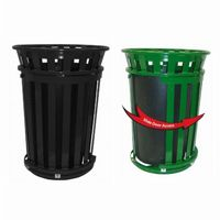 Witt Outdoor Trash Receptacle 36 Gal. Black Steel with Flat Top and Sliding Gate W-M3601SD-FT-BK