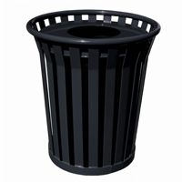 Witt Outdoor Trash Receptacle 36 Gal. Black Steel with Flat Top - Wydman W-WC3600-FT-BK