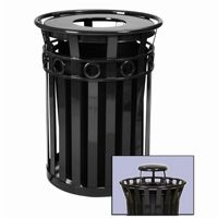 Witt Outdoor Trash Receptacle 36 Gal. Black Steel with Rain Cap - Decorative W-M3600-R-RC