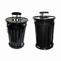 Witt Outdoor Trash Receptacle 36 Gal. Black Steel with Rain Cap and Sliding Door W-M3601SD-RC-BK