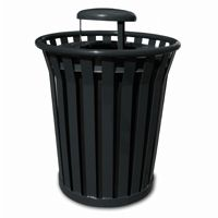 Witt Outdoor Trash Receptacle 36 Gal. Black Steel with Rain Cap - Wydman W-WC3600-RC-BK