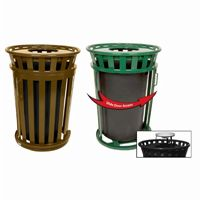 Witt Outdoor Trash Receptacle 36 Gal. Brown Steel with Ash Top and Sliding Gate W-M3601SD-AT-BN