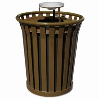 Witt Outdoor Trash Receptacle 36 Gal. Brown Steel with Ash Top - Wydman W-WC3600-AT-BN