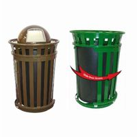 Witt Outdoor Trash Receptacle 36 Gal. Brown Steel with Dome Top and Sliding Gate W-M3601SD-DT-BN