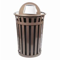 Witt Outdoor Trash Receptacle 36 Gal. Brown Steel with Dome Top W-M3601-DT-BN