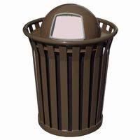 Witt Outdoor Trash Receptacle 36 Gal. Brown Steel with Dome Top - Wydman W-WC3600-DT-BN