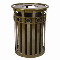 Witt Outdoor Trash Receptacle 36 Gal. Brown Steel with Flat Top - Decorative W-M3600-R-FT-BN