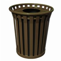 Witt Outdoor Trash Receptacle 36 Gal. Brown Steel with Flat Top - Wydman W-WC3600-FT-BN