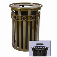 Witt Outdoor Trash Receptacle 36 Gal. Brown Steel with Rain Cap - Decorative W-M3600-R-RC-BN