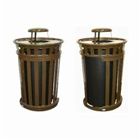 Witt Outdoor Trash Receptacle 36 Gal. Brown Steel with Rain Cap and Sliding Door W-M3601SD-RC-BN