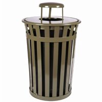 Witt Outdoor Trash Receptacle 36 Gal. Brown Steel with Rain Cap W-M3601-RC-BN