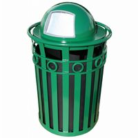 Witt Outdoor Trash Receptacle and 36 Gal. Green Steel with Dome Top W-M3600-R-DT-GN