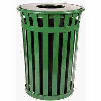 Witt Outdoor Trash Receptacle 36 Gal. Green Steel with Flat Top W-M3601-FT-GN