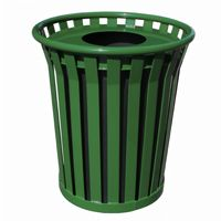 Witt Outdoor Trash Receptacle 36 Gal. Green Steel with Flat Top - Wydman W-WC3600-FT-GN