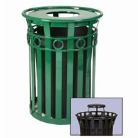 Witt Outdoor Trash Receptacle 36 Gal. Green Steel with Rain Cap - Decorative W-M3600-R-RC-GN