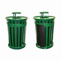 Witt Outdoor Trash Receptacle 36 Gal. Green Steel with Rain Cap and Sliding Door W-M3601SD-RC-GN
