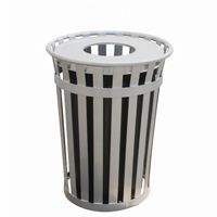 Witt Outdoor Trash Receptacle 36 Gal. Silver Steel with Flat Top W-M3601-FT-SLV