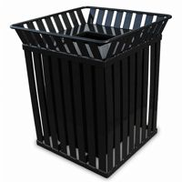Witt Outdoor Trash Receptacle with flat top 36 Gal. Black Steel W-M3601-SQ-FT-BK