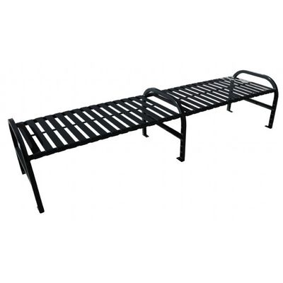 Witt Backless Outdoor Bench Black Steel 8 Feet Straight with Center W-M8-BBS-ARM-BK