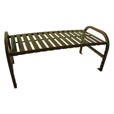 Witt Backless Outdoor Bench Brown Steel 4 Feet Straight W-M4-BBS-BN
