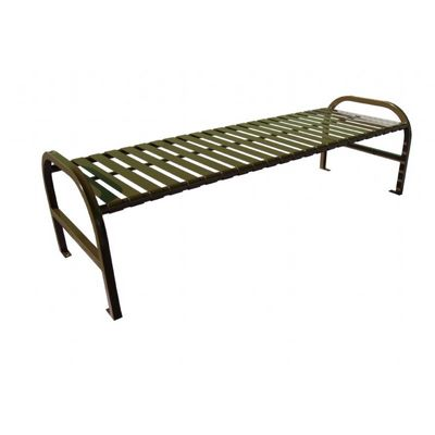 Witt Backless Outdoor Bench Brown Steel 6 Feet Straight W-M6-BBS-BN