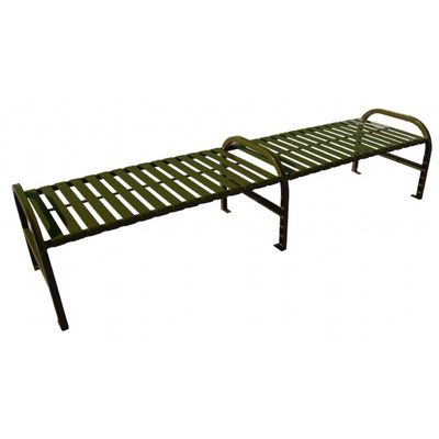Witt Backless Outdoor Bench Brown Steel 8 Feet Straight with Center W-M8-BBS-ARM-BN