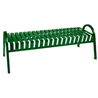 Witt Backless Outdoor Bench Green Steel 5 Feet Curved W-M5-BBC-GN