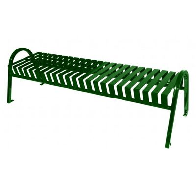 Witt Backless Outdoor Bench Green Steel 6 Feet Curved W-M6-BBC-GN