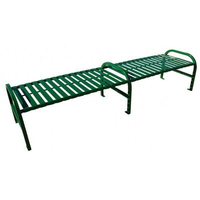 Witt Backless Outdoor Bench Green Steel 8 Feet Straight with Center W-M8-BBS-ARM-GN