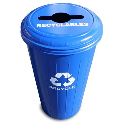 Witt Indoor Combo Recycling Container 20 Gal. Recycle Blue Steel W-10-1CTDB