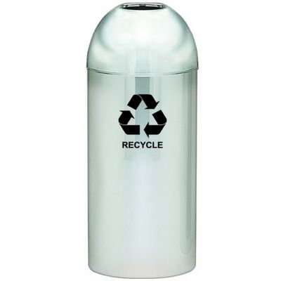 Witt Indoor Decorative Dometop Recycling Containers 15 Gal. Polished Metal (Chrome) Steel W-415DT-PM-R