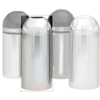 Witt Indoor Dometop 15 Gal. Polished Metal (Chrome) Steel with Open Top W-415DT-PM