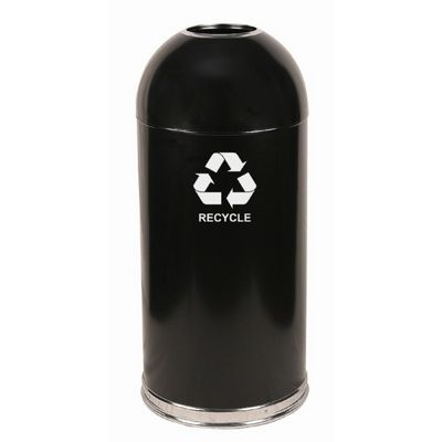 Witt Indoor Dometop Recycling Container 15 Gal. Black Steel W-415DTBK-R