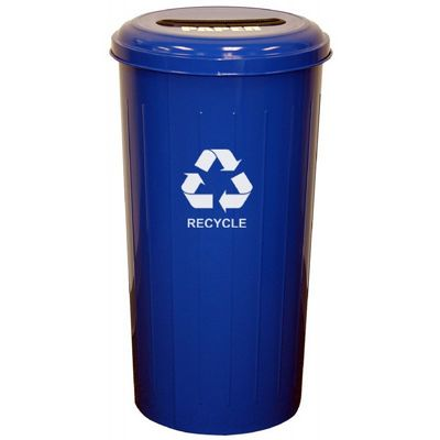 Witt Indoor Paper Collector 20 Gal. Recycle Blue Steel W-10-1STDB