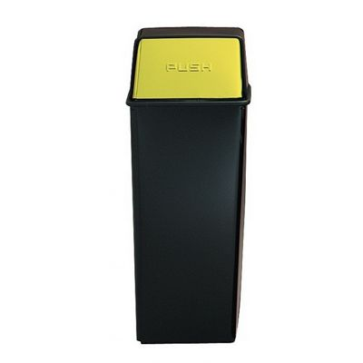 Witt Indoor Pushtop Receptacle 21 Gal. Black with Brass Accents Steel W-21HT-11