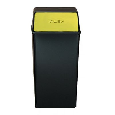 Witt Indoor Pushtop Receptacle 36 Gal. Black with Brass Accents Steel W-36HT-11