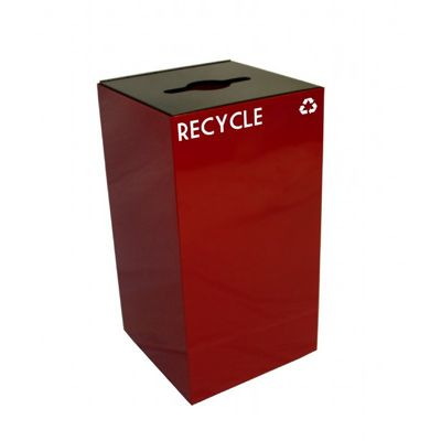 Witt Indoor Recycling Container 28 Gal. Scarlet Steel W-28GC04-SC