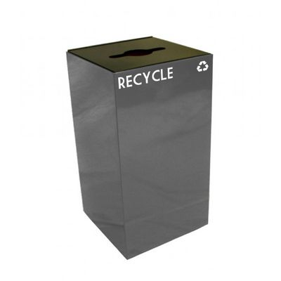 Witt Indoor Recycling Container 28 Gal. Slate Steel W-28GC04-SL