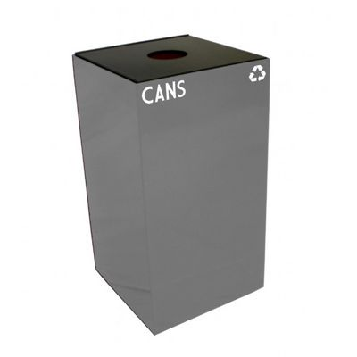 Witt Indoor Recycling Container 28 Gal. Slate Steel for Cans W-28GC01-SL