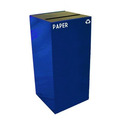 Witt Indoor Recycling Container 32 Gal. Blue Steel for Paper W-32GC02-BL