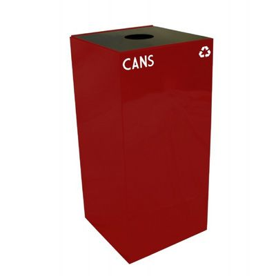Witt Indoor Recycling Container 32 Gal. Scarlet Steel for Cans W-32GC01-SC