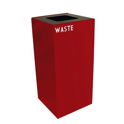 Witt Indoor Recycling Container 32 Gal. Scarlet Steel for Waste W-32GC03-SC