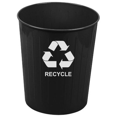 Witt Indoor Recycling Waste Basket Black Steel W-4BK-R