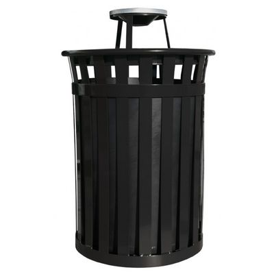 Witt Outdoor 50 Gal. Trash Receptacle Black Steel with Ash Top W-M5001-AT-BK