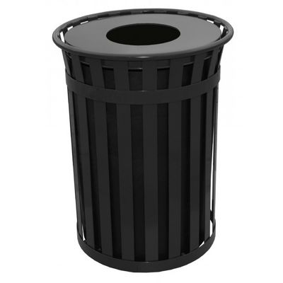 Witt Outdoor 50 Gal. Trash Receptacle Black Steel with Flat Top W-M5001-FT-BK