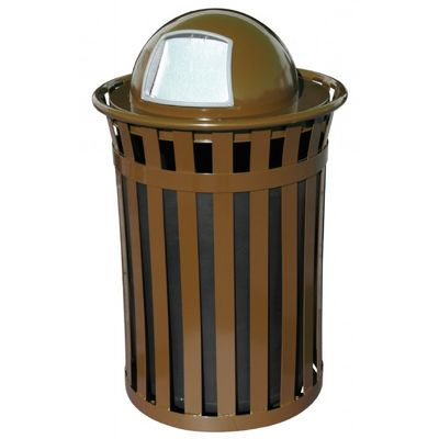 Witt Outdoor 50 Gal. Trash Receptacle Brown Steel with Dome Top W-M5001-DT-BN